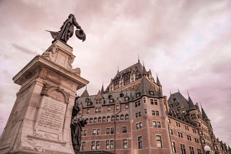 Chateau Frontenac at dusk in Quebec City in Canada Stock Photo