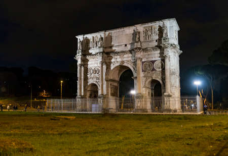 Roman Arch of Constantine in the city of Rome, Italy