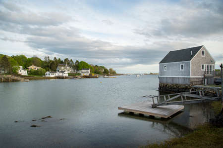 the view and the buildong in Cape Porpoise, Maine USA