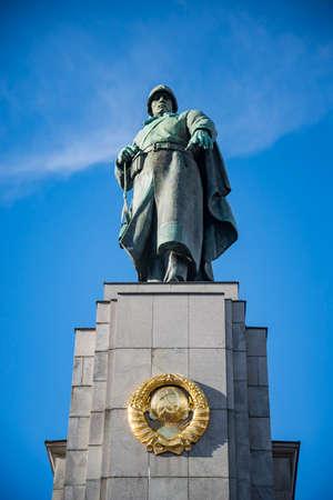BERLIN - APRIL 2: Soviet War Memorial in Berlin Tiergarten, Germany. Monument Of Soviet Soldiers on April 2, 2015 in Berlin Germany