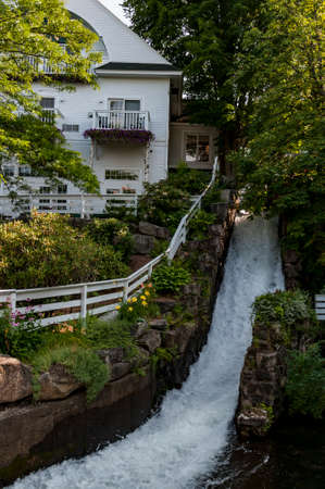 waterfall in downtown Camden, Maine, United States