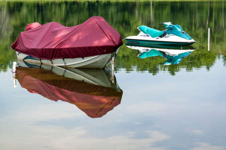Boats on a lake in New England in America