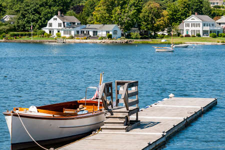 Boats on a pier in Camden, Maine New England in America Stock Photo