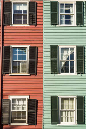 Typical building with windows and different colors of historical Bunker Hill in Boston MA, USA