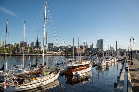 Long Wharf and Customhouse Block with sailboats and yachts in Boston, Massachusetts, the United States.