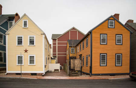 Colored and historic houses in Portsmouth, New Hampshire, USA. Stock Photo
