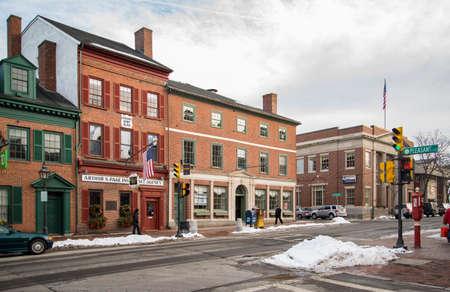 NEWBURYPORT MA- FEBRUARY 4: street view of the old touristic town of Newburyport, on February 4, 2018 in Newburyport MA America Editorial