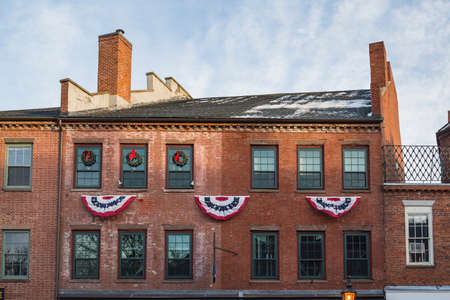 street view of the old touristic town of Newburyport MA America Stock Photo
