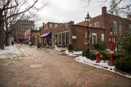 NEWBURYPORT MA- FEBRUARY 4: street view of the old touristic town of Newburyport, on February 4, 2018 in Newburyport MA America