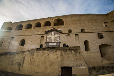 Detail of the Facade of Castel Santelmo in the city of Naples, Italy