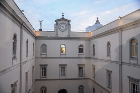 Courtyard inside the Madre Museum in Naples, Campania, Italy. It is the famous contemporary art museum.