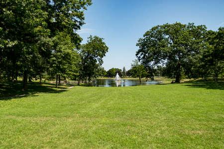 The lake in Deering Oaks Park in Portland, Maine Stock Photo