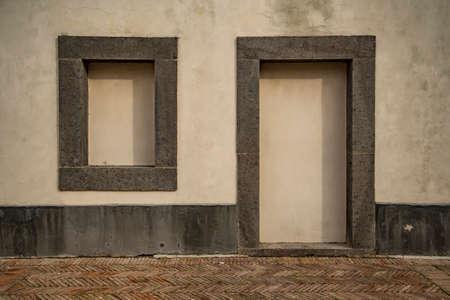 Old italian vintage blind door and window in Naples, Italy