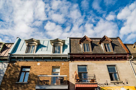 Colorful victorian houses in Montreal Stock Photo