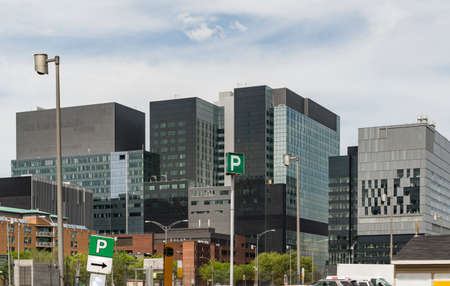 Condo buildings and skycrapers in downtown Montreal
