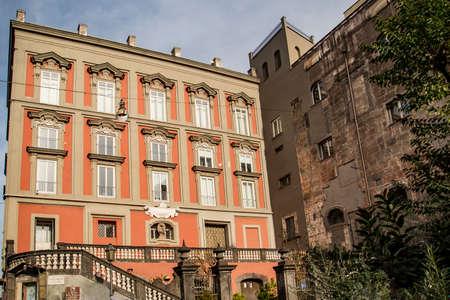 Historic building of SantAntonio delle Monache in Bellini square in Naples, Campania, Italy.