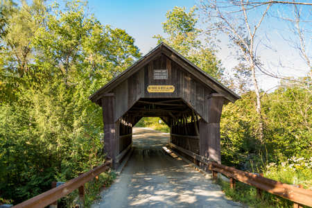 Rural Vermont Covered Bridge called Gold Brook in Stowe Vermont USA Stock Photo