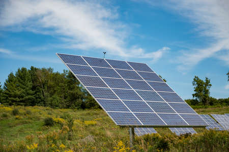 solar panel on sky background in an open field in the United States