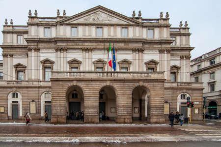 MILANO - DECEMBER 16: Piazza La Scala and La Scala theatre, on December 16, 2012, in Milan. ITALY