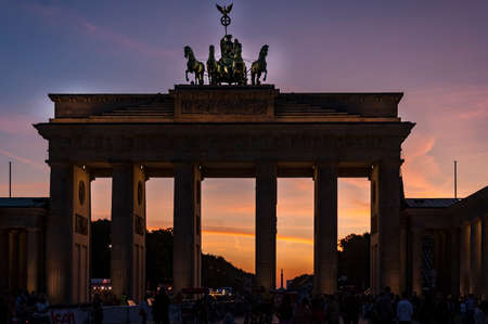 The silouhette of Branderburg gate at the sunset in Berlin, Germany