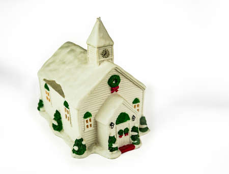 Christmas plastic house. Isolated on white background