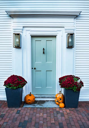 entrance of a typical New England residential house in Newburyporth MA, USA