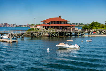 Great Diamond Island, Casco Bay, Maine, USA. The welcome house in the dock Stock Photo