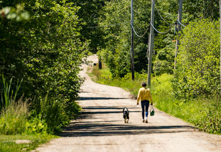 A woman walks with her dog in a park in Maine, USA Stock Photo