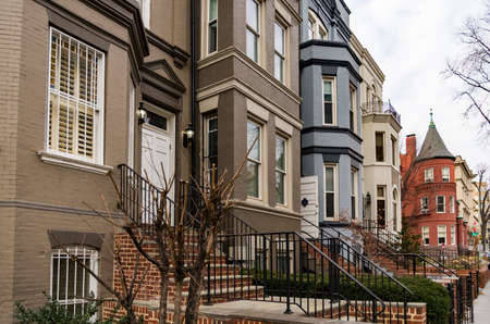 Washington DC, Georgetown historical district - A street with preserved old mansions Stock Photo