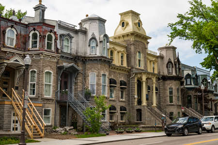 Victorian buildings in the old district in Quebec City, Canada Stock Photo