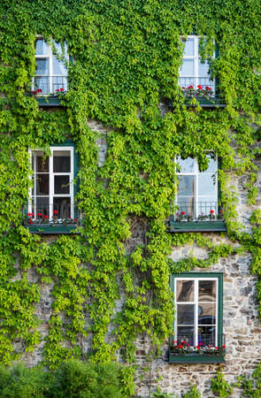 Facade of old ornate building of the old town section of Quebec City, Canada Stock Photo