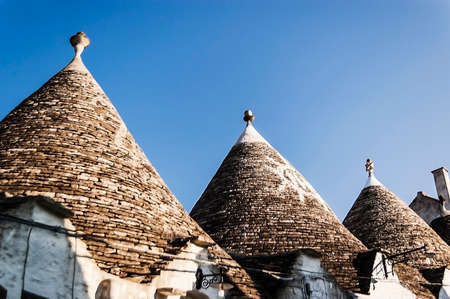 the famous Trulli building in the small old village of Alberobello, Italy