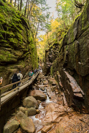 LINCOLN NH - OCTOBER 7, 2017: Flume gorge in the fall time in Franconia Notch State Park, New Hampshire, USA