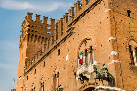 Historical building in the Square Trento and Trieste on June 17, 2017 in Ferrara - Italy