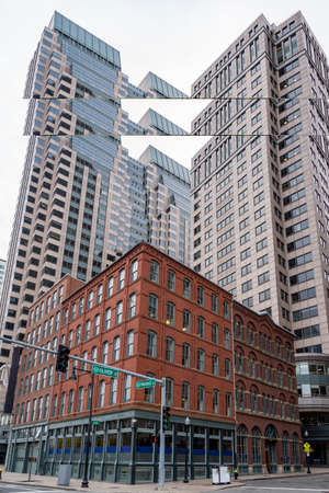 Portrait of Downtown financial district in Boston, MA USA