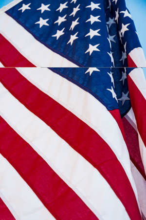 Closeup of ruffled American flag called also Stars and Stripes