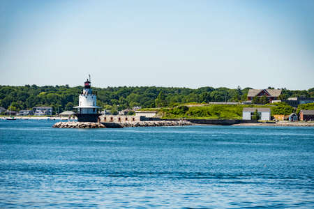 View of the Bug Light Lighthouse from the ocean, South Portland, Maine Stock Photo