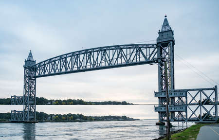 Histrical Rail Road Bridges on Cape Cod canal in Bourne MA Stock Photo