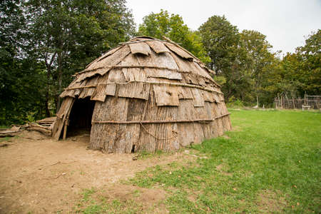 A Wampanoag Indian hut at Plimoth Plantation in Plymouth, MA. Stock Photo