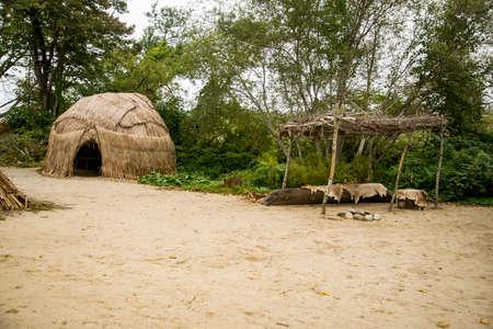 A Wampanoag Indian hut at Plimoth Plantation in Plymouth, MA. Stock Photo