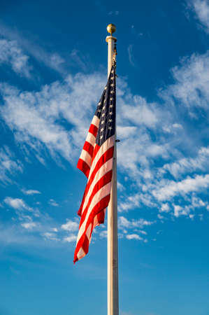 American flag star and stripes on the blue sky, United States Stock Photo