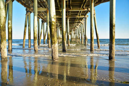 Underneath of the old pier taken at Old Orchard Beach, in Maine, USA