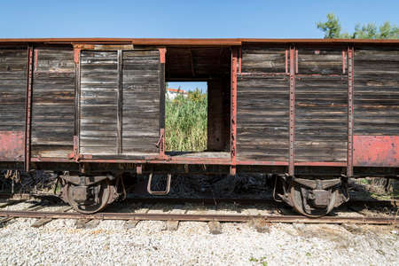 dismissed train in an abandoned rail station in Italy