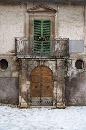 italian door the small village of Scanno, Abruzzo Italy
