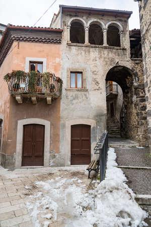 italian building in the small village of Scanno, Abruzzo Italy