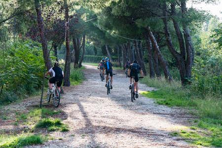Bikes ride in a path inside a Forest near Lanciano, Abruzzo region, Italy