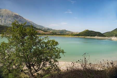 Lake Campotosto embedded in the Gran Sasso and Monti della Laga National Park, Abruzzo, Italy