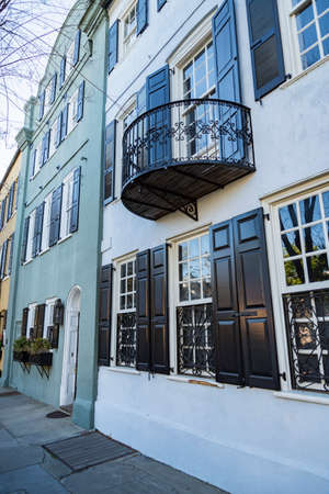 Facade of the Rainbow Row downtown Charleston South Carolina, USA