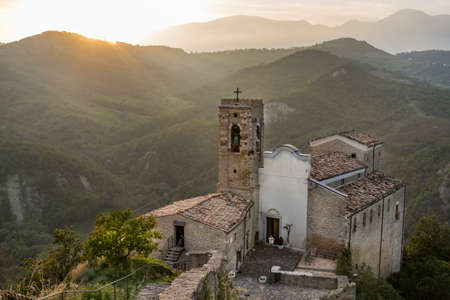 Church in the mountain, on the Appenines mountains in Abruzzo, Roccascalegna Italy Stock Photo