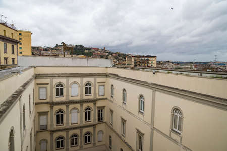 Italy. Historic Centre of Naples seen from Castle Sant'Elmo. There are cupolas of some churches located along the Tribunali street (incl. the facade of Naples Cathedral)